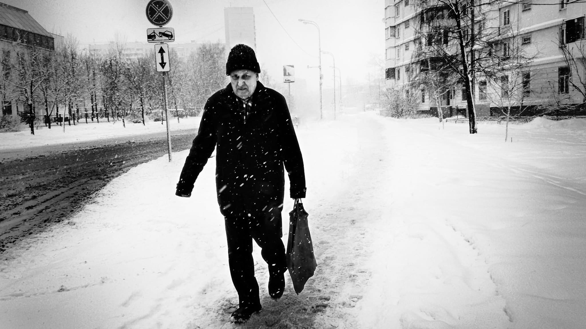 """Snowy day"" Street Photograph by Alexander Tarasenkov"