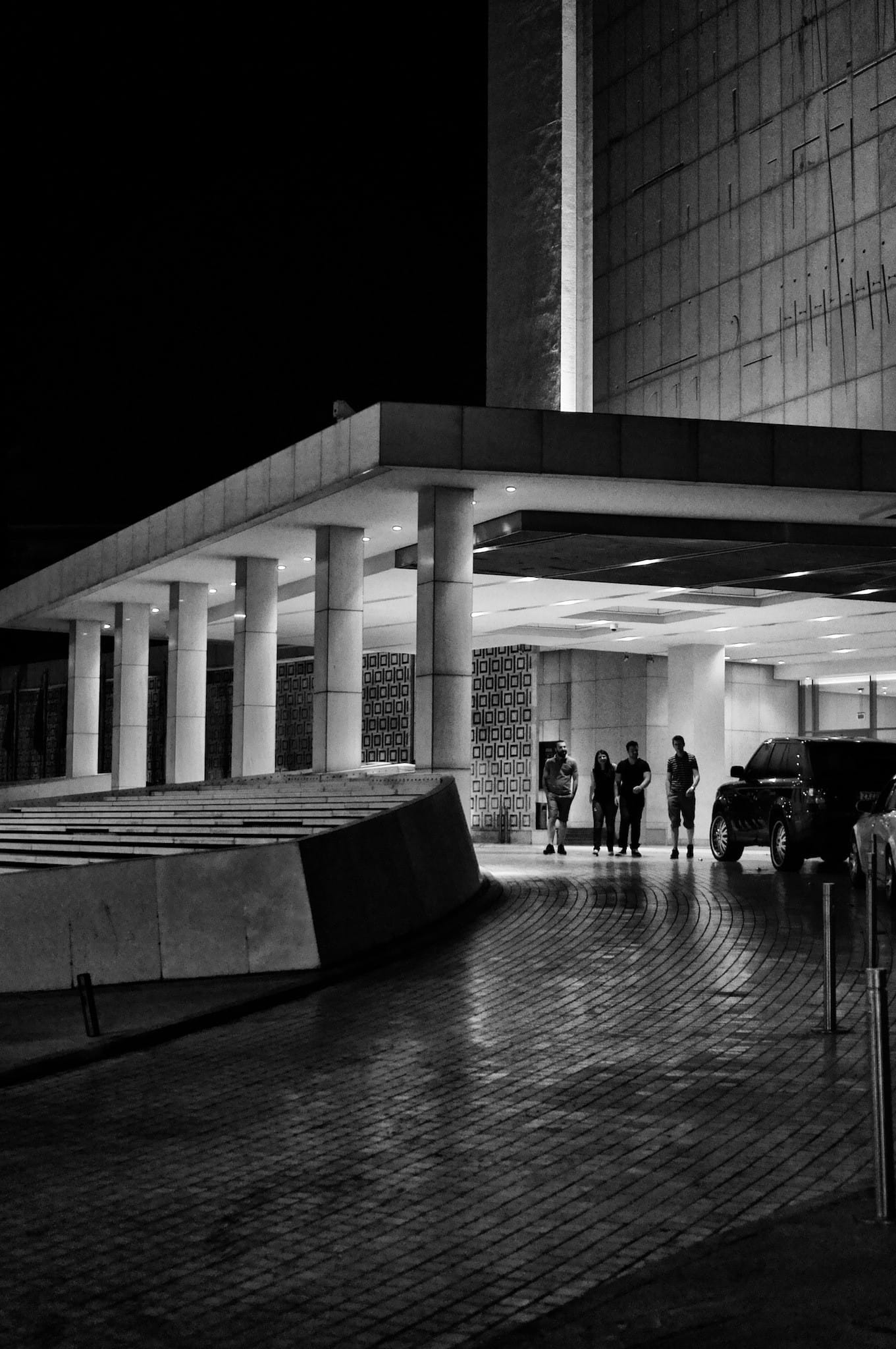 The Athens Hilton by night