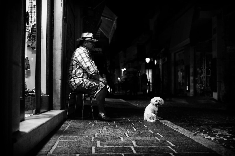 night-man-and-dog