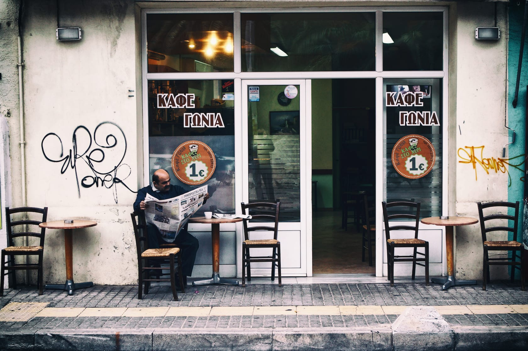 Brown corner coffee shop