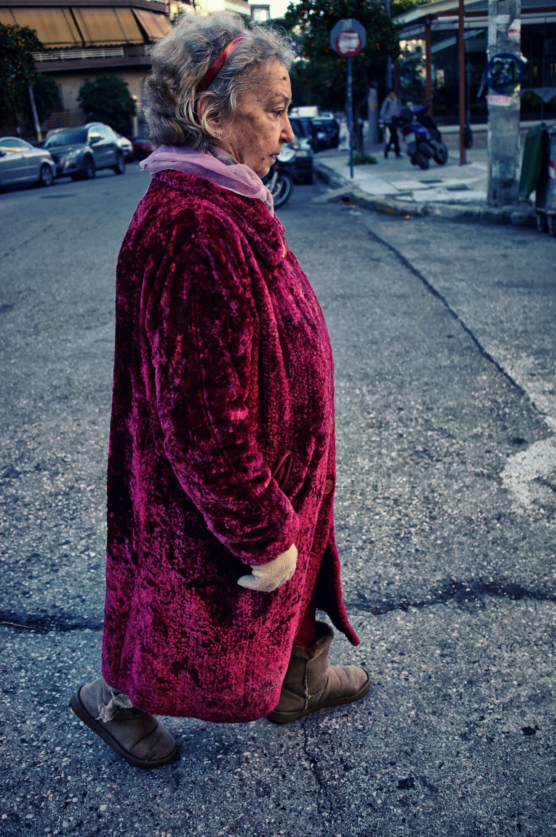 Red coat lady