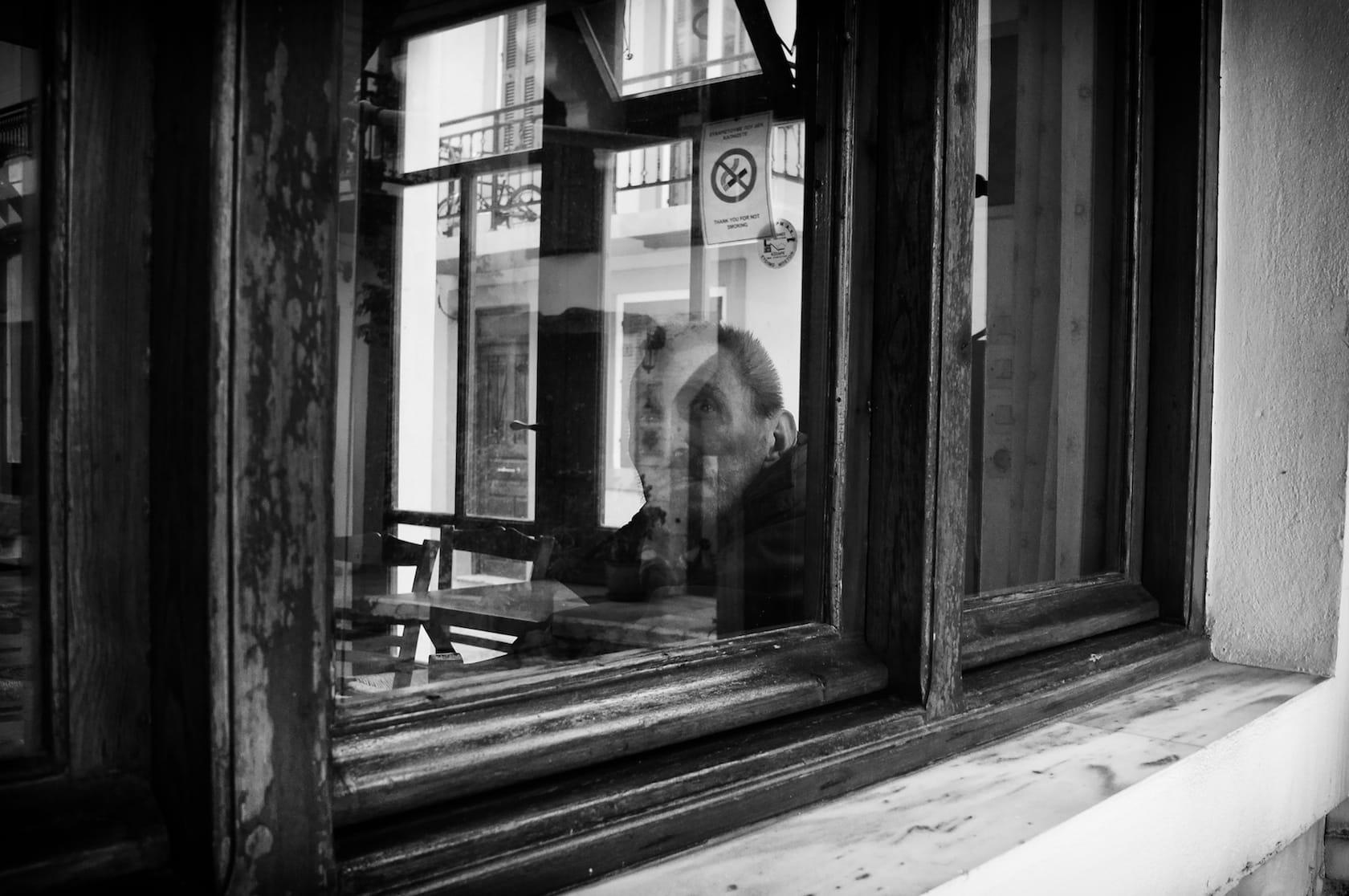 Through the coffee shop window