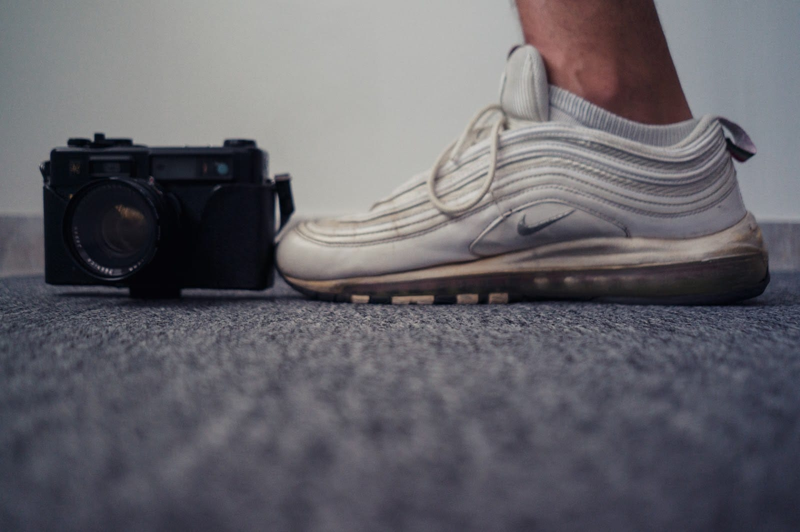 A camera and a shoe