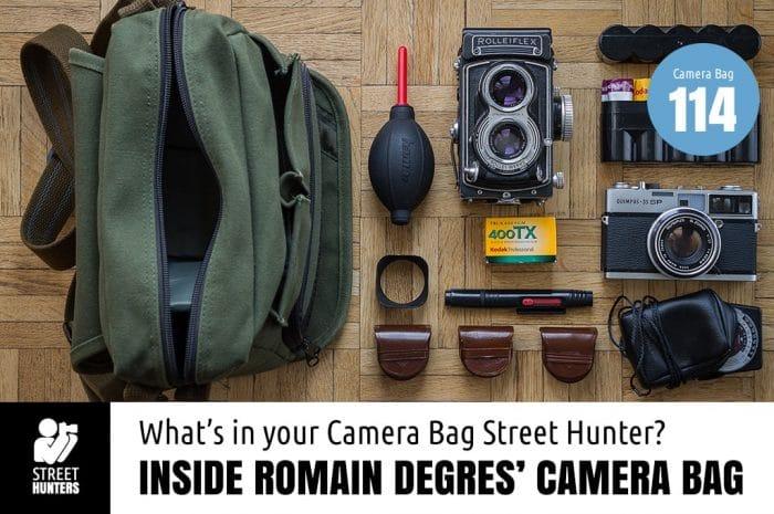 Inside Romain Degres' Camera Bag