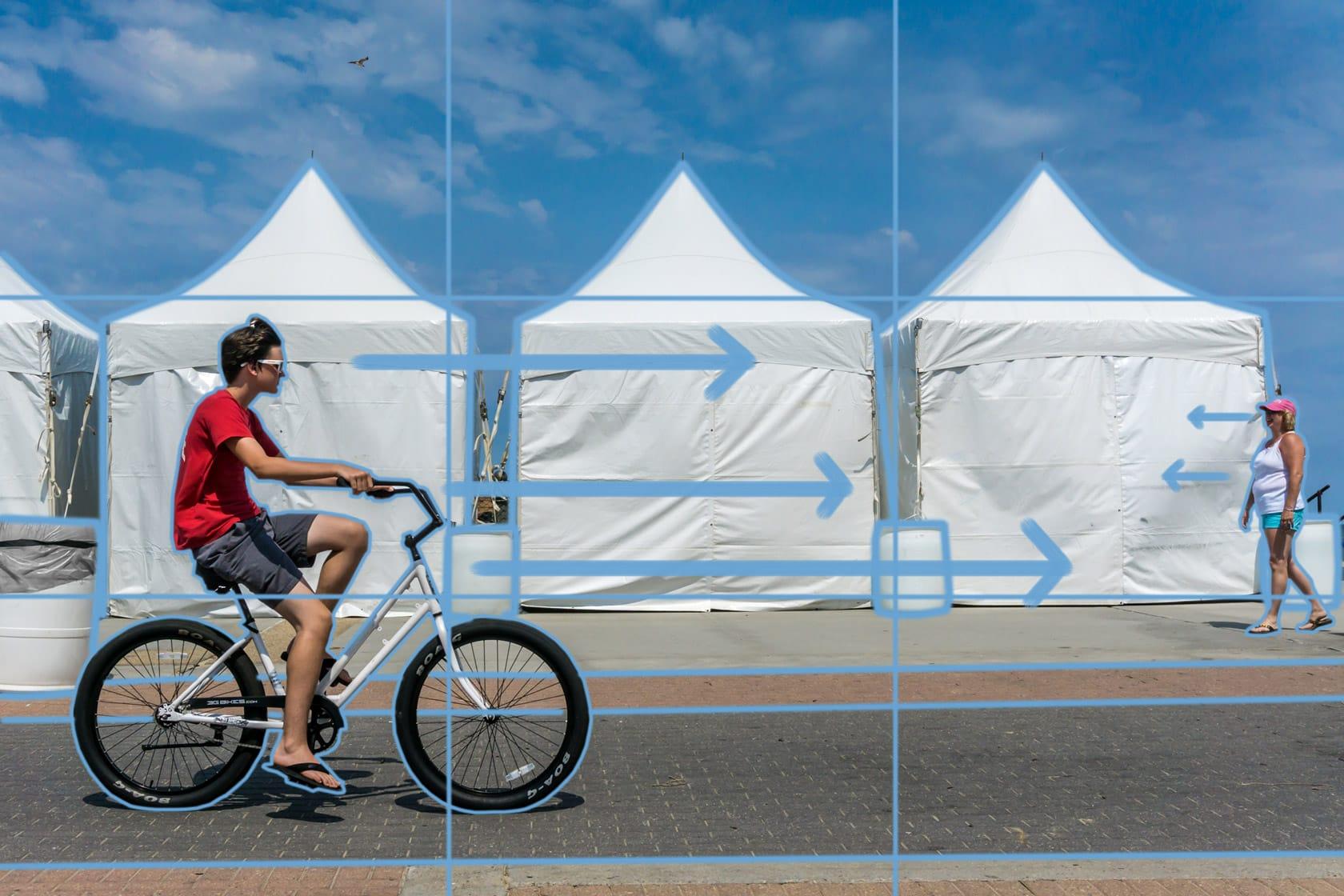 'Boardwalk Biker' by Michael Schmitt annotated
