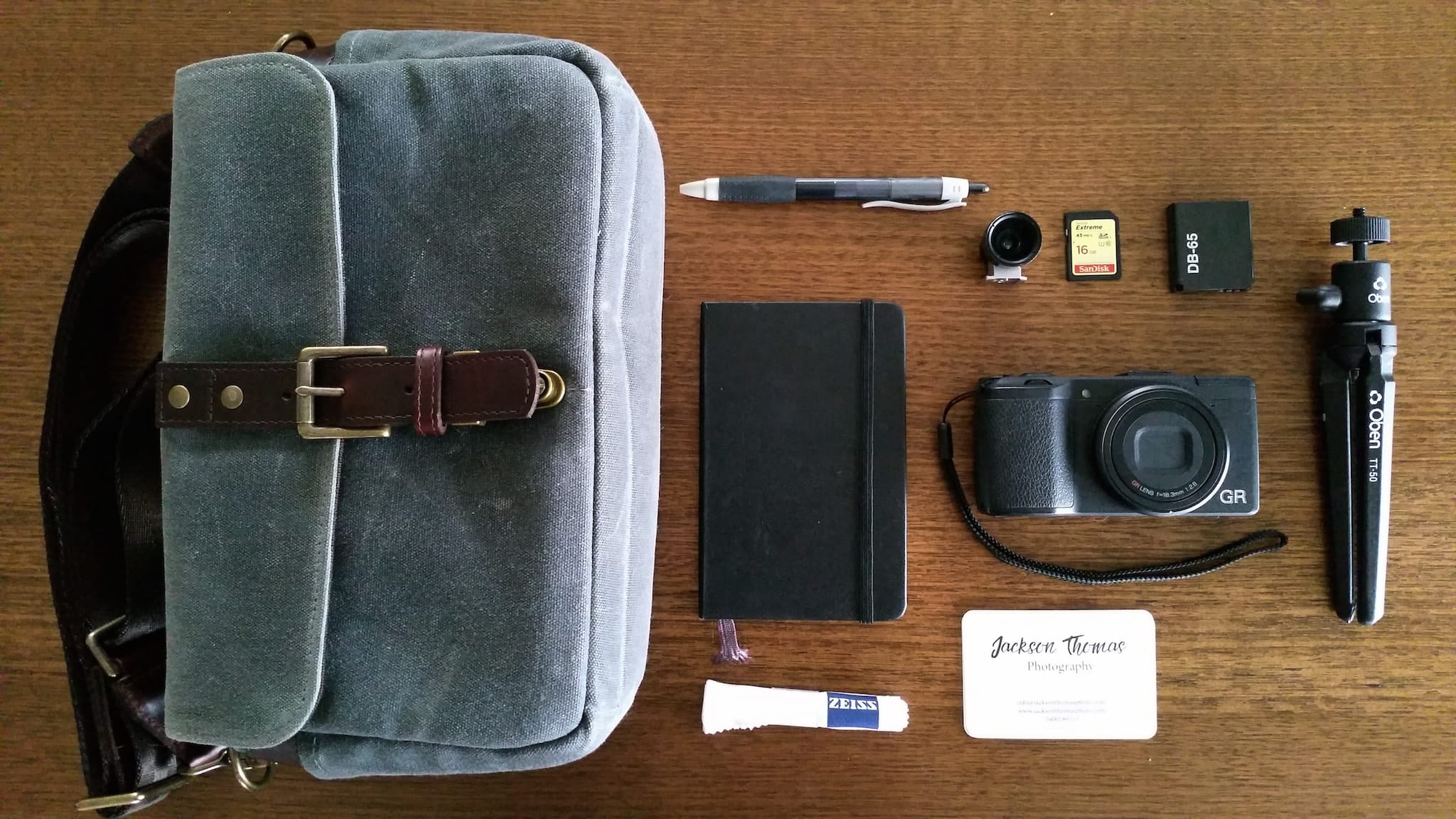 Inside Jackson Thomas' camera bag