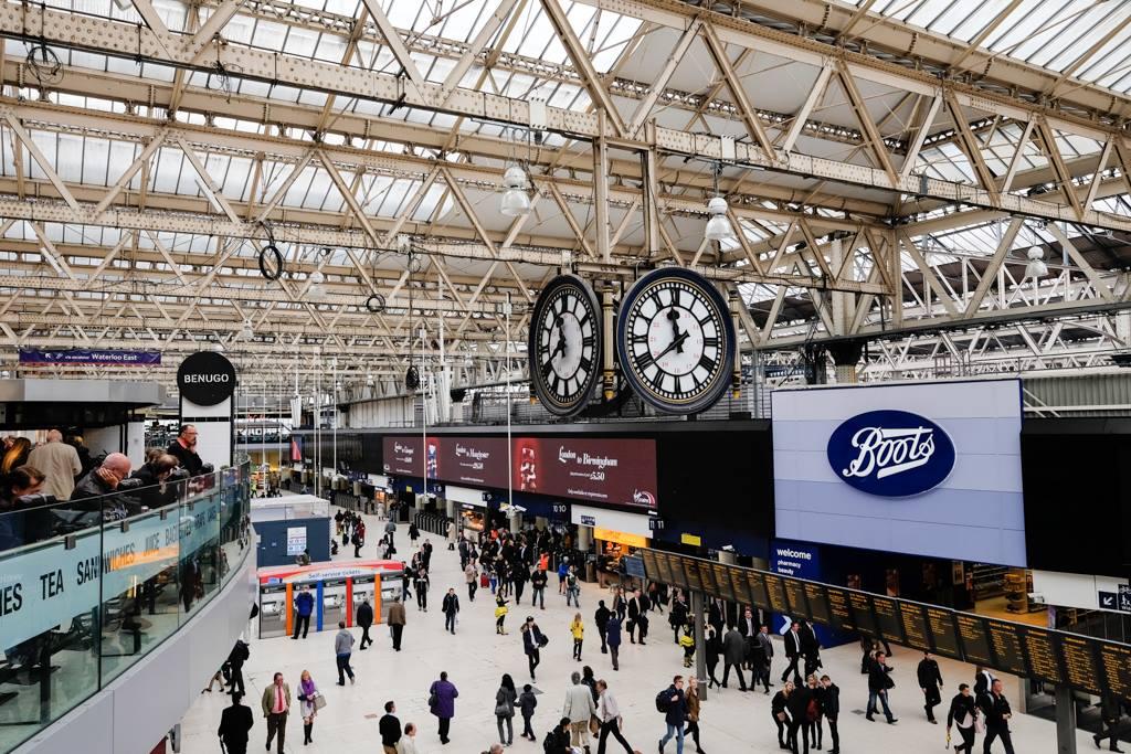 Waterloo Station under the Big clock