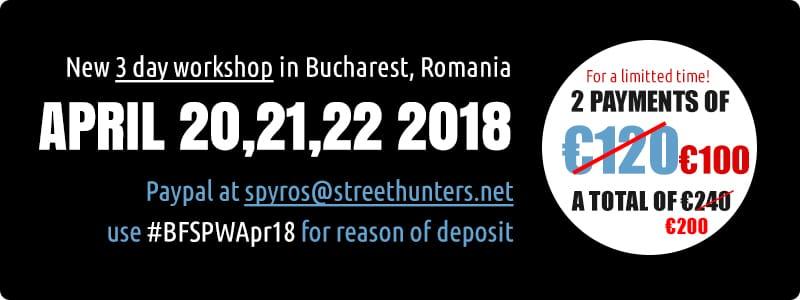 Flash Street Photography Workshop in Bucharest prices