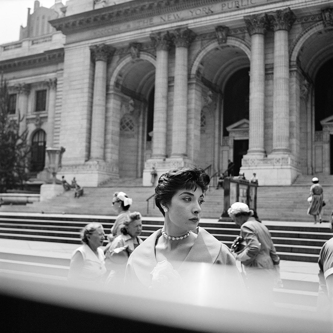 Vivian Maier - Photo of woman shot through a bus window