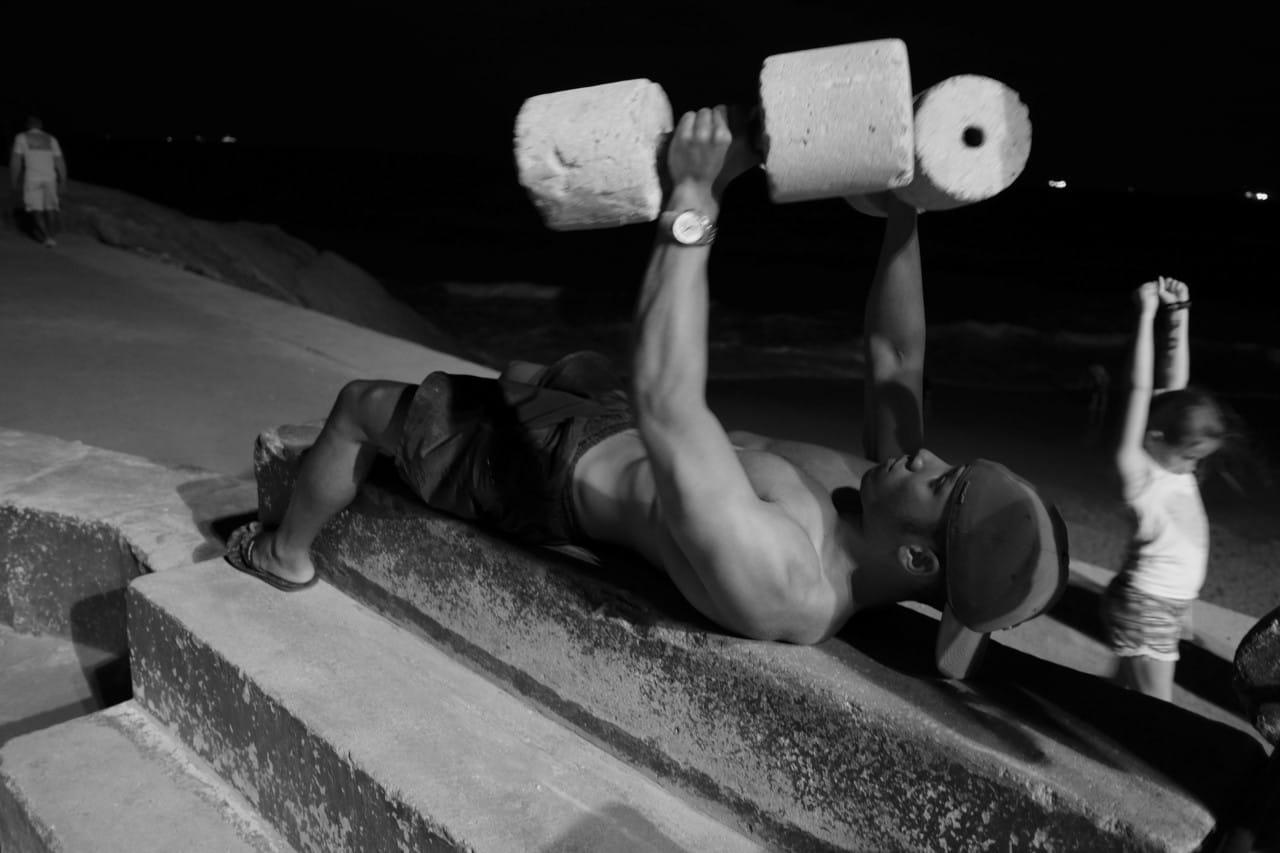 BRAZIL. Rio de Janeiro. July 2, 2014. An outdoor gym in Arpoador.